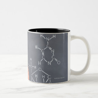 Teacher by chalkboard with structure of chemical Two-Tone coffee mug