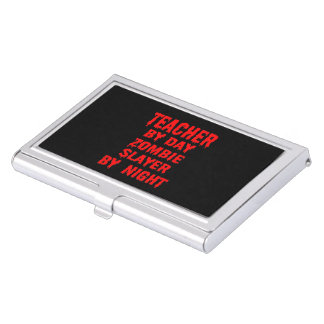 Teacher by Day Zombie Slayer by Night in Red Business Card Holder