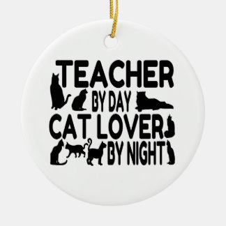 Teacher Cat Lover Christmas Ornament