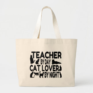 Teacher Cat Lover Large Tote Bag