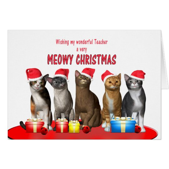 Teacher, Cats in Christmas hats Card