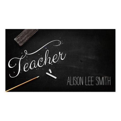 Teacher chalkboard business card templates