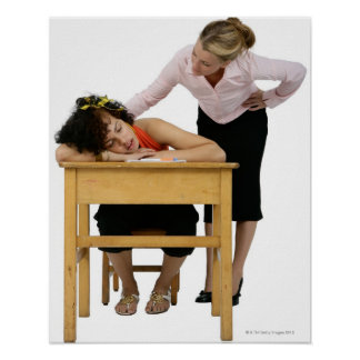 Teacher Checking on Student Asleep at Desk Poster