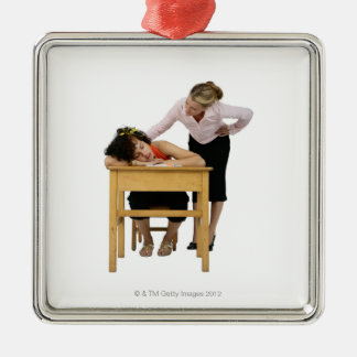 Teacher Checking on Student Asleep at Desk Silver-Colored Square Decoration