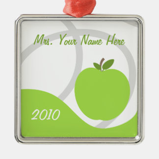 Teacher Christmas Ornament - Green Apple