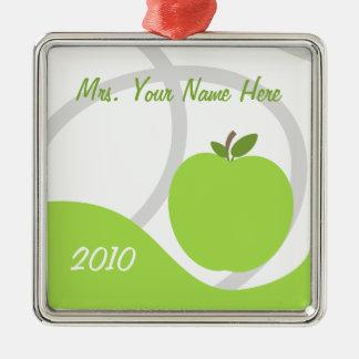 Teacher Christmas Ornament - Green Apple