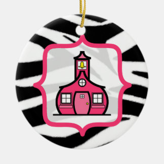 Teacher Christmas Ornament - Zebra Print & Pink