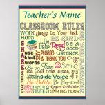 Teacher Class Room Rule Add Name Customise Poster