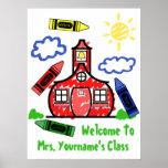 Teacher Classroom Poster - Schoolhouse & Crayons
