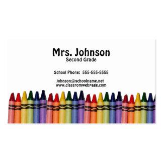 Teacher Crayons Template Pack Of Standard Business Cards