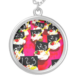 Teacher cupcake repeat on pink background round pendant necklace