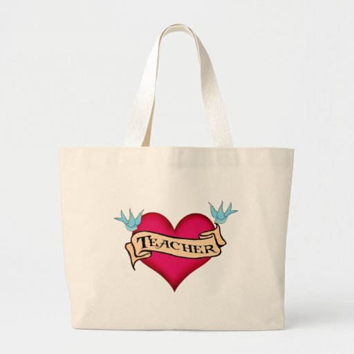 Teacher - Custom Heart Tattoo T-shirts & Gifts Canvas Bag