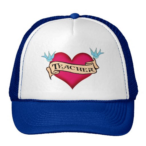 Teacher - Custom Heart Tattoo T-shirts & Gifts Mesh Hats