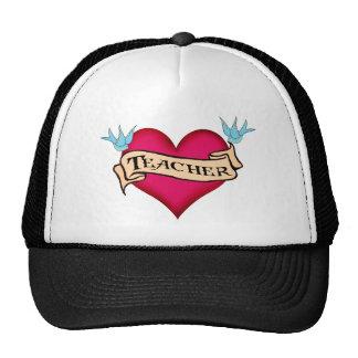 Teacher - Custom Heart Tattoo T-shirts & Gifts Mesh Hat