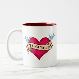 Teacher - Custom Heart Tattoo T-shirts & Gifts Mugs