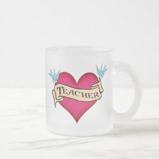 Teacher - Custom Heart Tattoo T-shirts & Gifts Frosted Glass Mug