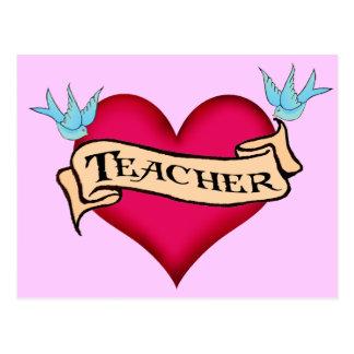 Teacher - Custom Heart Tattoo T-shirts & Gifts Postcard