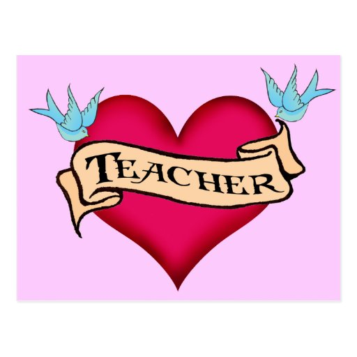 Teacher - Custom Heart Tattoo T-shirts & Gifts Postcards