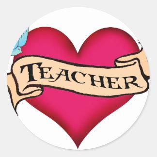 Teacher - Custom Heart Tattoo T-shirts & Gifts Round Sticker