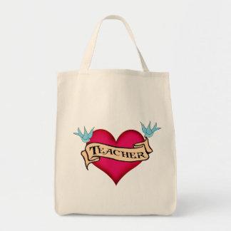 Teacher - Custom Heart Tattoo T-shirts & Gifts Grocery Tote Bag