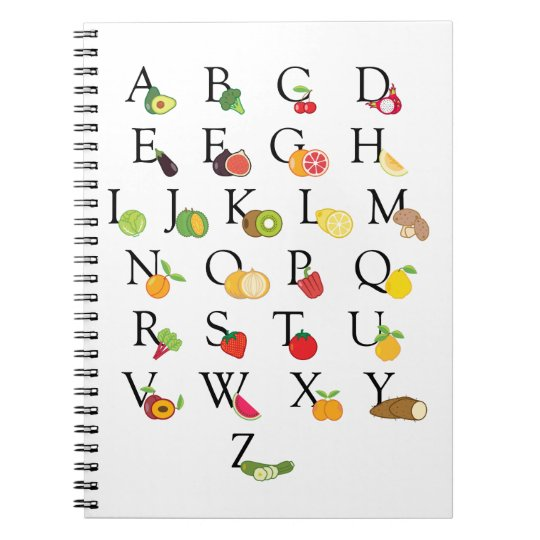 Teacher Fruit and Vegetable ABC Alphabet A-Z Notebook