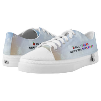 """Teacher,"" Fun and Colorful Design Low Tops"