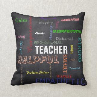 Teacher Gift Attributes Chalkboard Typography Cushion