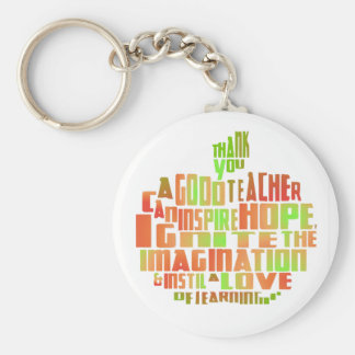 Teacher Gift Keepsake Apple Quote Thank You Key Ring