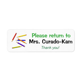 Teacher Gift Labels Return to Name Colored Pencils