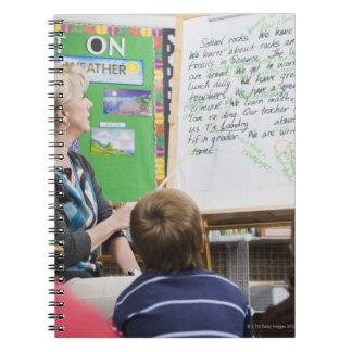 Teacher giving classroom presentation to spiral notebook