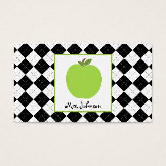 Teacher Green Apple Black Argyle Business Card