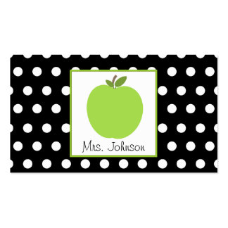 Teacher Green Apple Black With White Polka Dots Pack Of Standard Business Cards