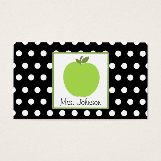 Teacher Green Apple Black With White Polka Dots Business Card