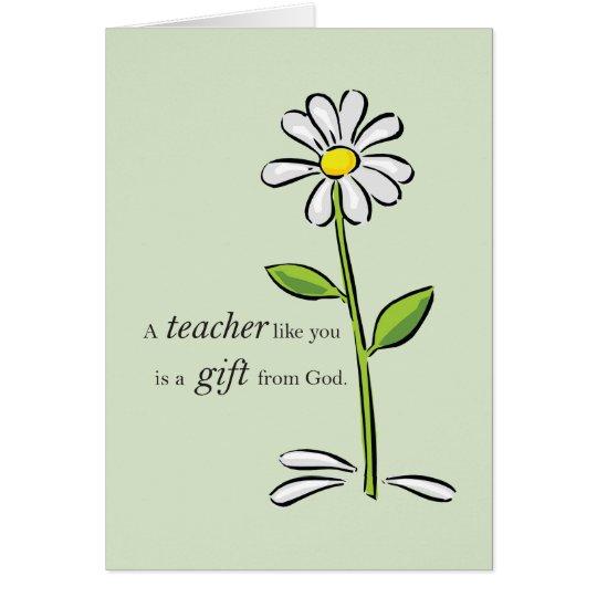 Teacher Happy Birthday, Religious Green Daisy, God Card