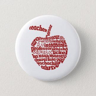 Teacher in all languages Red Apple 6 Cm Round Badge