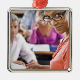 Teacher in classroom Silver-Colored square decoration