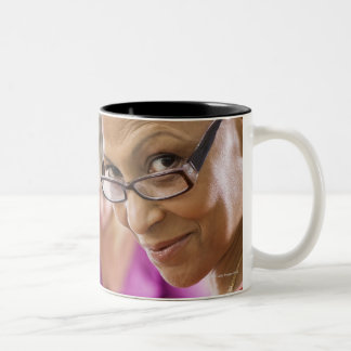Teacher in classroom Two-Tone coffee mug