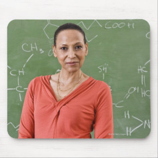 Teacher in front of chalkboard mouse pad