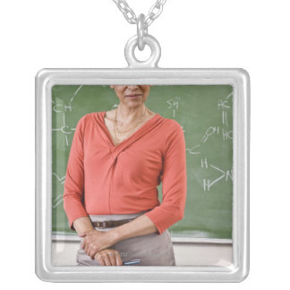 Teacher in front of chalkboard silver plated necklace
