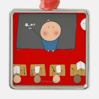 Teacher in front of classroom, elevated view christmas ornament