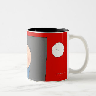 Teacher in front of classroom, elevated view mug