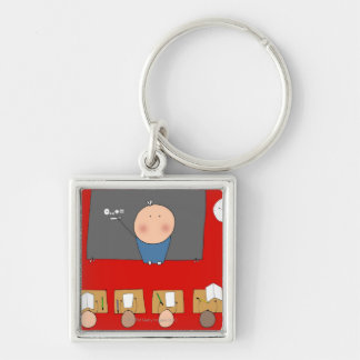Teacher in front of classroom, elevated view Silver-Colored square key ring