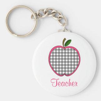 Teacher Keychain - Charcoal Gray Gingham