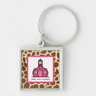 Teacher Keychain - Giraffe Print