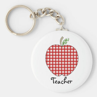 Teacher Keychain - Red Gingham Apple