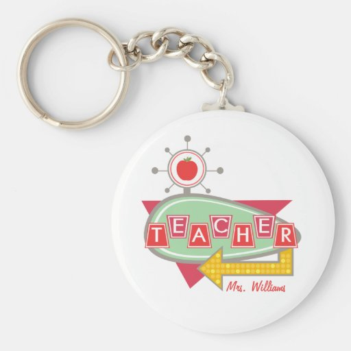 Teacher Keychain - Retro Vintage 60s Inspired Sign