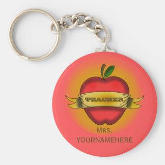Teacher Keychain- Vintage Apple Tattoo Basic Round Button Key Ring