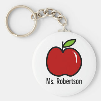 Teacher keychain with red apple design