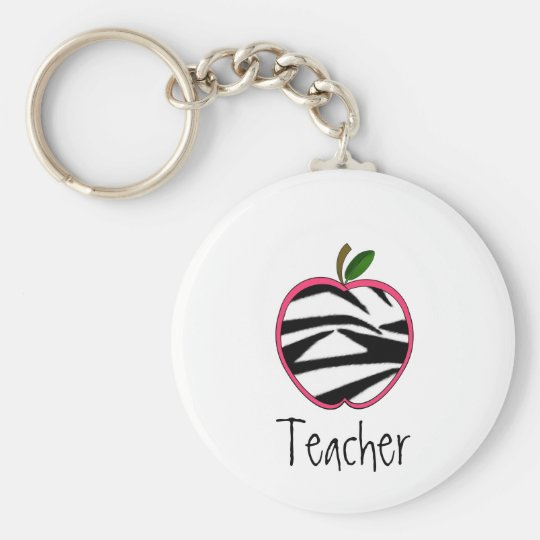 Teacher Keychain -Zebra Print Apple w Pink Outline