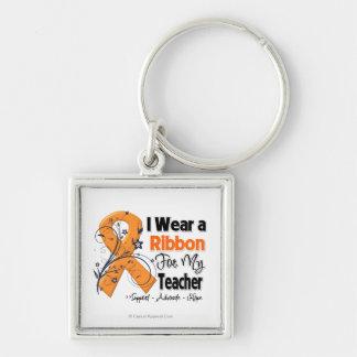 Teacher - Leukemia Ribbon Silver-Colored Square Key Ring